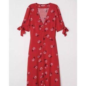 h&m red midi dress